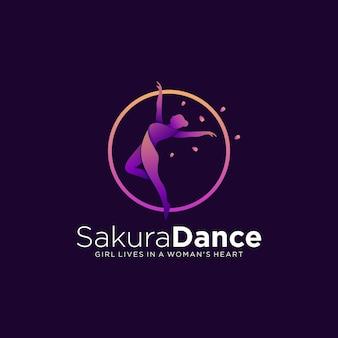 Логотип иллюстрация танец градиент красочный стиль.