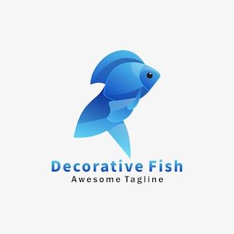 Logo illustration decorative fish gradient colorful style.