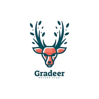 Logo illustration deer color mascot style.