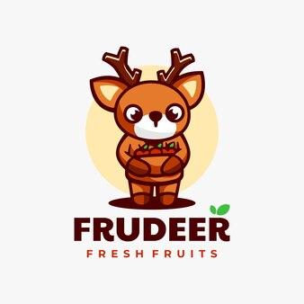 Логотип иллюстрация олень талисман мультяшном стиле.