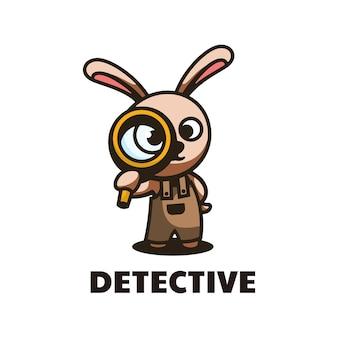 Иллюстрация логотипа детектив талисман мультяшном стиле.