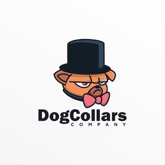 Логотип иллюстрация ошейники для собак талисман мультяшном стиле.
