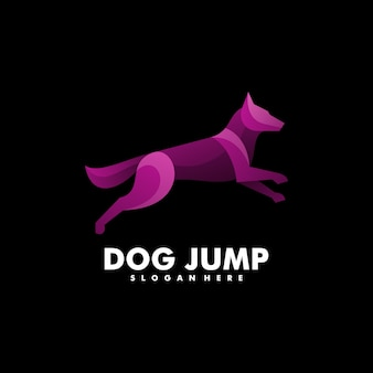 Логотип иллюстрация собака градиент красочный стиль.