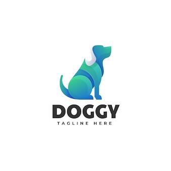 Логотип иллюстрация собаки градиентом красочный стиль