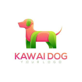 Logo illustration dog gradient colorful style