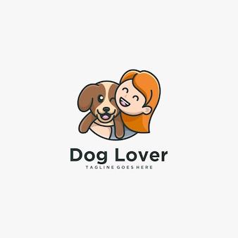 ロゴイラスト子供と犬の恋人シンプルなマスコットスタイル
