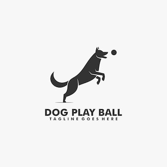 Logo illustration dog playing ball silhouette style.