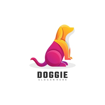 Logo illustration doggie gradient colorful style.