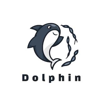 ロゴイラストイルカのシンプルなマスコットスタイル。