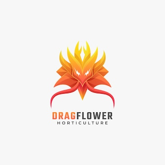 Logo illustration dragon flower gradient colorful style.