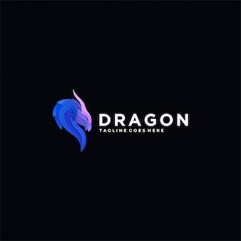 Logo illustration dragon head colorful style.