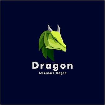 Логотип иллюстрация голова дракона красочный стиль.