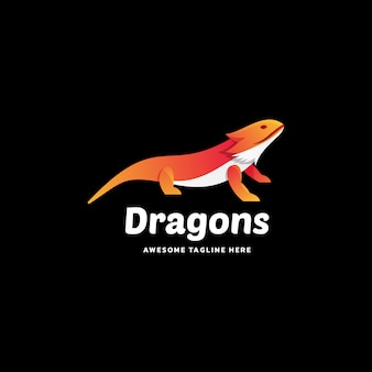 Логотип иллюстрация драконы градиент красочный стиль.