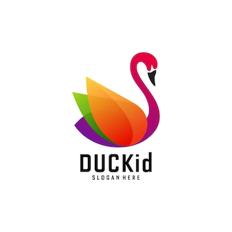 Logo illustration duck gradient colorful style