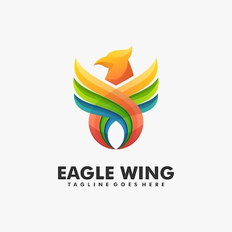 Logo illustration eagle wing gradient colorful style.