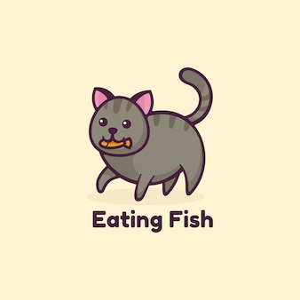 Logo illustration eating fish simple mascot style.
