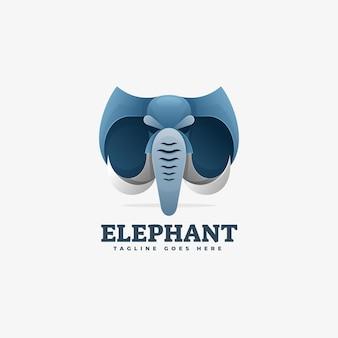 Логотип иллюстрация слон градиент красочный стиль.