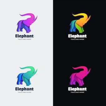 ロゴイラスト象グラデーションカラフルなスタイル。