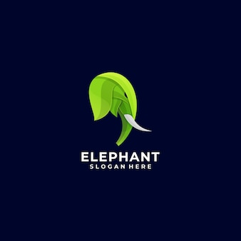 Logo illustration elephant head colorful style.