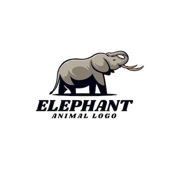 ロゴイラスト象のシンプルなマスコットスタイル