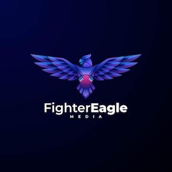 Логотип иллюстрация истребитель орел градиент красочный стиль.