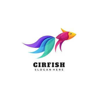 Logo illustration fish gradient colorful style.