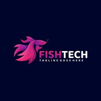 Logo illustration fish tech gradient colorful style.