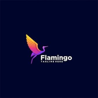 Логотип иллюстрация фламинго градиент красочный стиль.