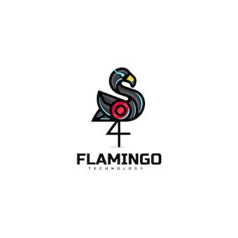 로고 일러스트 플라밍고 간단한 마스코트 스타일