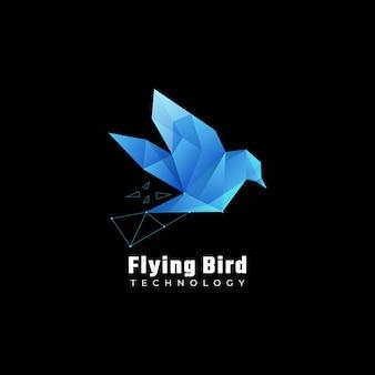 Логотип иллюстрация flying bird градиент красочный стиль.