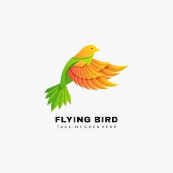 ロゴイラスト空飛ぶ鳥のグラデーションカラフルなスタイル。