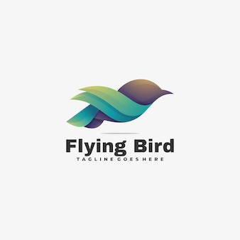 Logo illustration flying bird gradient colorful style.