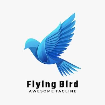 Logo illustration flying bird gradient colorful style.