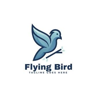 ロゴイラスト空飛ぶ鳥のマスコット漫画スタイル