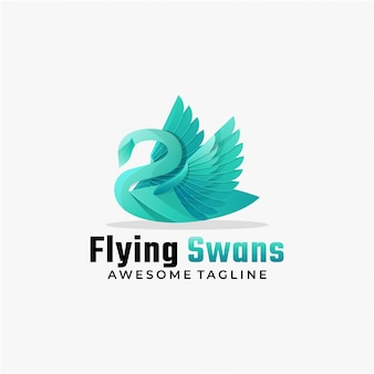 Logo illustration flying swan gradient colorful style.