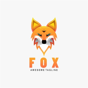 Logo illustration fox gradient colorful style.