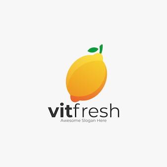 Logo illustration fresh lemon color style.