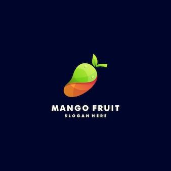 Логотип иллюстрация свежий манго градиент красочный стиль.