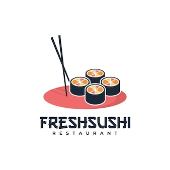 ロゴイラスト新鮮な寿司マスコット漫画スタイル。