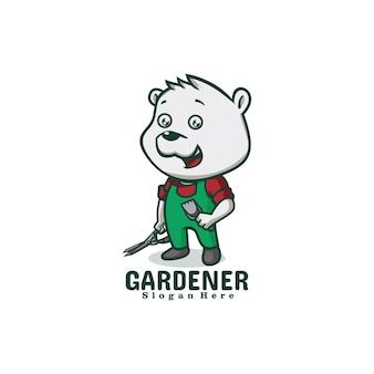 Логотип иллюстрации садовник медведь талисман мультяшном стиле