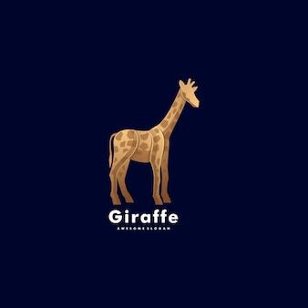 Логотип иллюстрация жираф градиент красочный стиль.