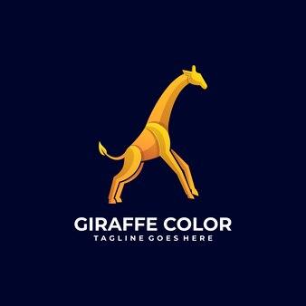 Logo illustration giraffe jump gradient colorful style.