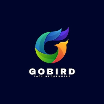 Логотип иллюстрация go bird градиент красочный стиль.