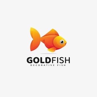 Logo illustration gold fish gradient colorful style.
