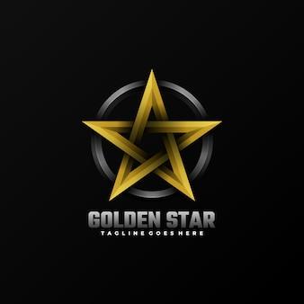 Logo illustration golden star gradient colorful style.