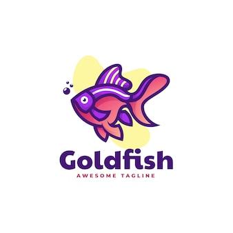 Логотип иллюстрация золотая рыбка простой стиль талисмана