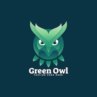 Logo illustration green owl gradient colorful style.