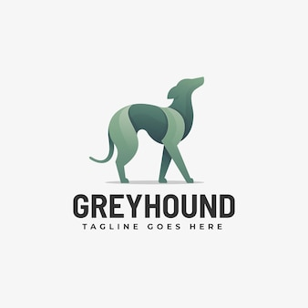 Logo illustration grey hound gradient colorful style.