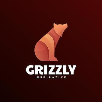 Логотип иллюстрация гризли градиентом красочный стиль