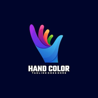 Logo illustration hand color gradient colorful style.